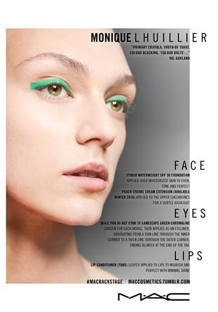 Make up Monique Lhullier SS 2016 IL LOOK: Effetto color block, colori solidi e pieni solo sugli occhi. Make up by Val Garland for Mac Cosmetics