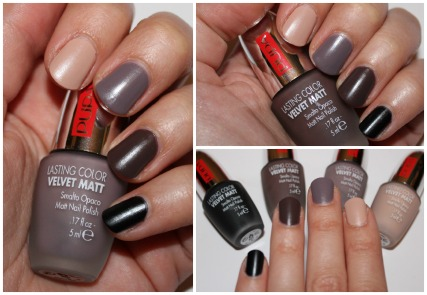 Lasting Color Velvet Matt 001 black – PUPA Lasting Color Velvet Matt 009 chocolate – PUPA Lasting Color Velvet Matt 006 lilac grey – PUPA Lasting Color Velvet Matt 005 nude – PUPA